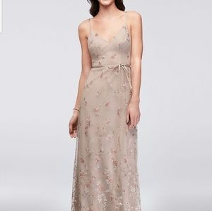 New David's Bridal Dress Floral Embroidered Fall